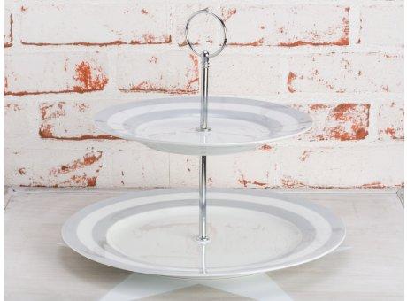 Krasilnikoff Etagere Streifen grau 2 Etagen Weißes Porzellan mit hellgrauen Streifen