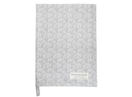 Krasilnikoff Geschirrtuch BERRIES Hellgrau mit Beeren Muster in Weiß Baumwolle Geschirrhandtuch 50x70 Krasilnikoff Küchentuch Nr KW6788