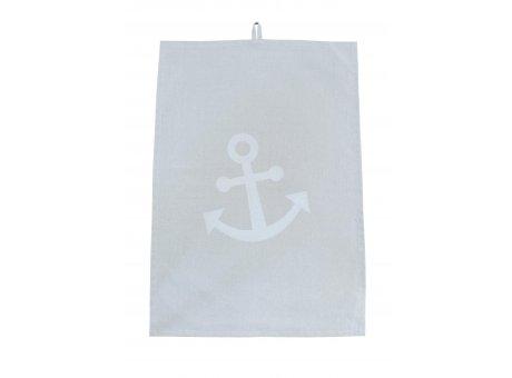 Krasilnikoff Geschirrtuch hellgrau mit Anker in silber Baumwolle Geschirrhandtuch Maritim grau 50x70