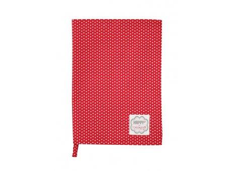 Krasilnikoff Geschirrtuch Micro Dots Punkte rot weiß
