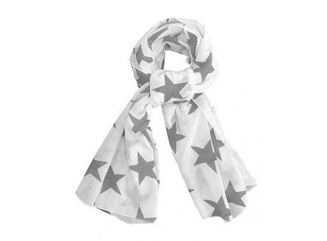 Krasilnikoff Halstuch weiß mit dunkelgrauen Sternen
