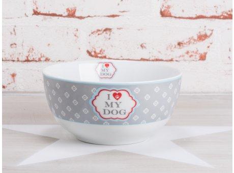 Krasilnikoff Happy Bowl Müslischale I Love my dog Blumen hellgrau weiß Herz rot Pfoten Abdruck Porzellan Geschirr mit Hunde Spruch