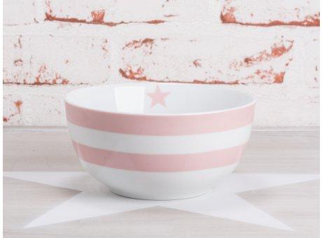 Krasilnikoff Happy Bowl Müslischale Streifen rosa weiß gestreift Stern pink Porzellan Geschirr New Stripes