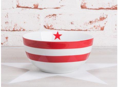 Krasilnikoff Happy Bowl Müslischale Streifen rot weiß gestreift mit rotem Stern Porzellan Geschirr New Stripes