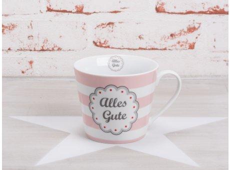 Krasilnikoff Happy Cup Becher Alles Gute rosa pink weiß gestreift Porzellan Geschirr Serie mit Streifen und Sprüchen