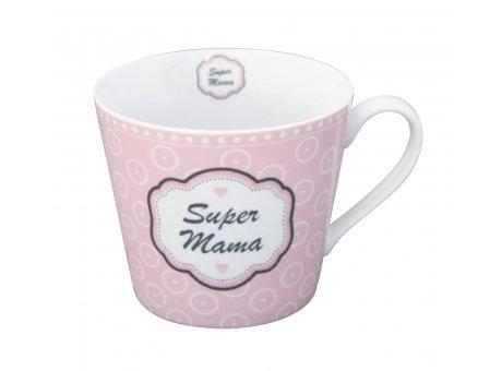Krasilnikoff Happy Cup Tasse Super Mama mit Henkel rosa mit Punkten Becher aus Porzellan