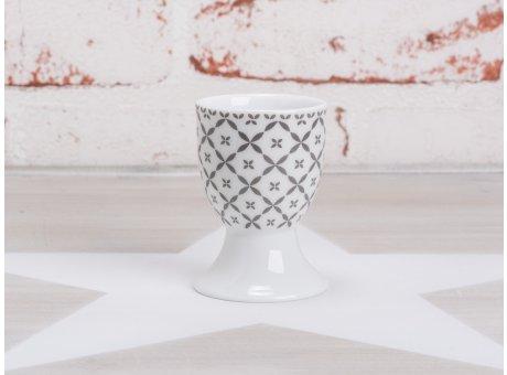 Krasilnikoff Happy Eierbecher mit Fuß weiß Blumen Art Muster dunkelgrau Porzellan Geschirr New Diagonal Design grau