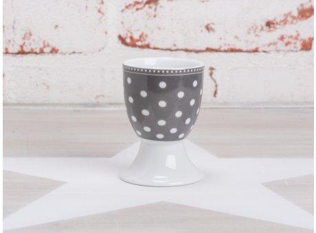 Krasilnikoff Happy Eierbecher Punkte dunkelgrau weiß gepunktet Porzellan Geschirr New Dots grau