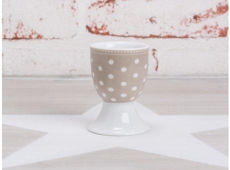 Krasilnikoff Happy Eierbecher Punkte taupe weiß gepunktet Porzellan Geschirr New Dots sand