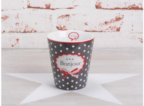 Krasilnikoff Happy Mug Becher Bonjour dunkelgrau Punkte weiß roter Rand Schleife rot Porzellan Geschirr Serie mit Spruch