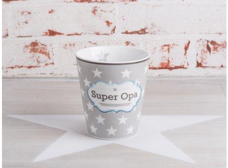 Krasilnikoff Happy Mug Becher Super Opa grau mit weißen Sternen