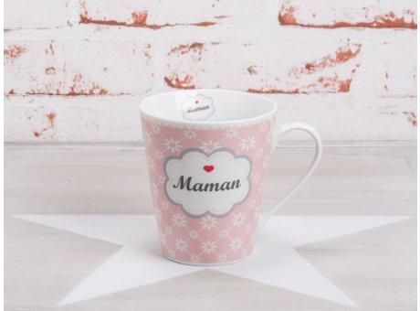 Krasilnikoff Happy Mug Henkel Becher Maman mit Blumen Diagonal weiß und Herz rot Porzellan Geschirr Serie mit Spruch