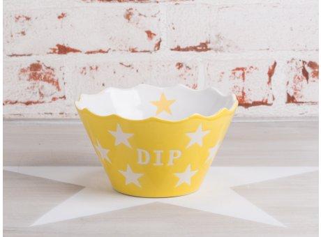 Krasilnikoff Happy Stars Dip Schale gelb mit weißen Sternen