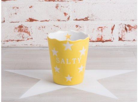 Krasilnikoff Happy Stars Salty Salzstangen Becher gelb mit weißen Sternen