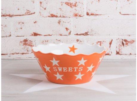 Krasilnikoff Happy Stars Sweets Schüssel Schale orange mit weißen Sternen