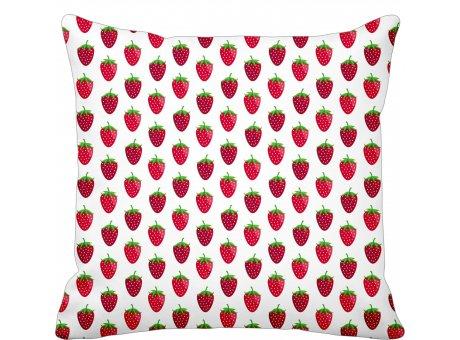 Krasilnikoff Kissenhülle weiß mit Erdbeeren Baumwolle Kissen 50x50
