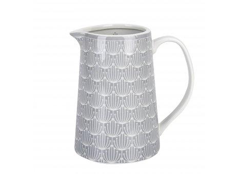 Krasilnikoff Krug Blossom Hellgrau Porzellan kanne 15 cm in grau weiß Karaffe Füllmenge 850 ml Model JU480