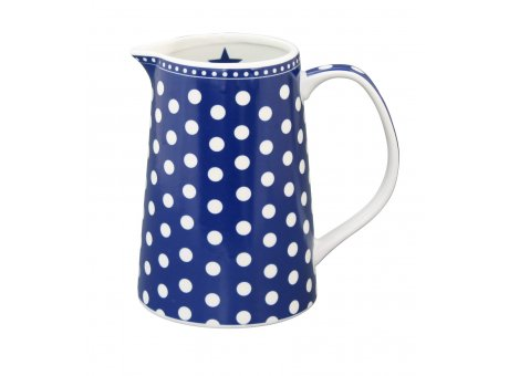 Krasilnikoff Krug dunkelblau mit Punkten Kanne aus Porzellan für 850 ml in blau