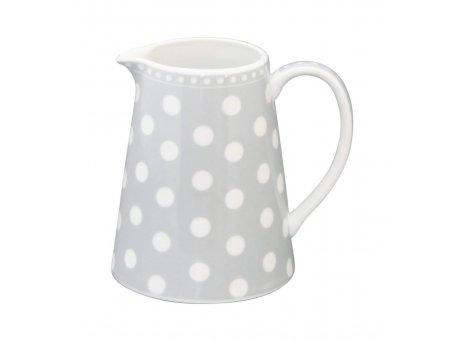 Krasilnikoff Milchkännchen hellgrau mit weißen Punkten Kanne aus Porzellan
