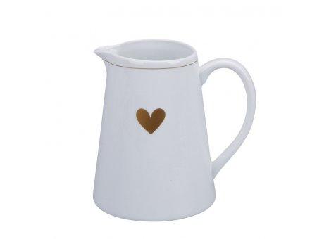 Krasilnikoff Milchkännchen HERZ Kanne Weiß mit Herz in Gold Krasilnikoff Sahnekännchen Nr CR625