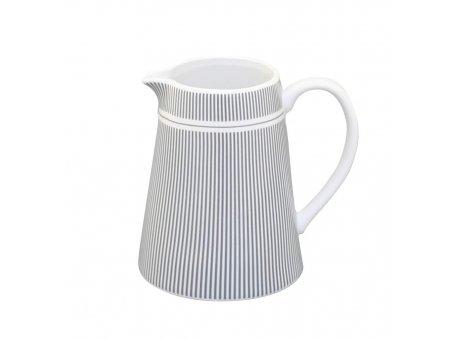 Krasilnikoff Milchkännchen Nadelstreifen dunkelgrau Porzellan Milchkännchen grau weiß gestreift 200 ml