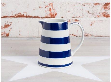 Krasilnikoff Milchkännchen Streifen Blau Sahnekännchen in weiß dunkelblau gestreift Maritim aus Porzellan