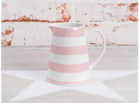 Krasilnikoff Milchkännchen Streifen rosa Sahnekännchen in weiß pink gestreift aus Porzellan