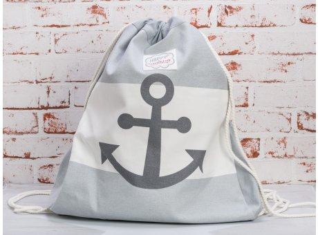 Krasilnikoff Rucksack Anker hellgrau weiß Streifen mit Anker in grau Maritime Tasche aus Baumwolle