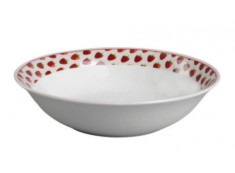 Krasilnikoff Salat Schale weiß mit Erdbeeren Suppenteller Porzellan
