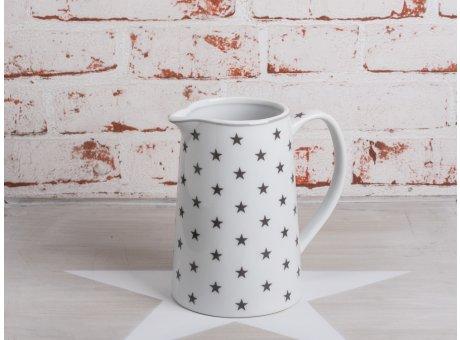 Krasilnikoff Stern Krug weiße Kraffe mit dunkelgrauen Sternen aus Porzellan