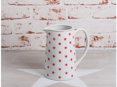 Krasilnikoff Stern Krug weiße Kraffe mit roten Sternen aus Porzellan