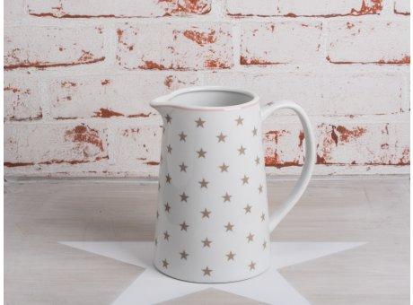 Krasilnikoff Stern Krug weiße Kraffe mit taupe farbigen Sternen aus Porzellan