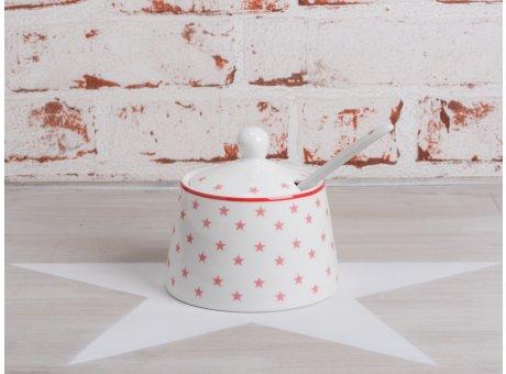 Krasilnikoff Stern Zuckerdose weiß mit rosa pink Sternen aus Porzellan