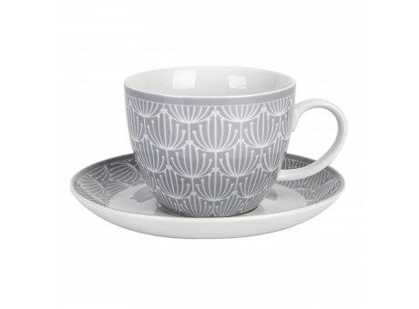 Krasilnikoff Tasse mit Untertasse Blossom Hellgrau Porzellan Tasse 420 ml in grau weiß Model CUP480
