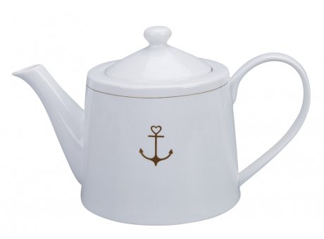 Krasilnikoff Teekanne ANKER Kanne Weiß mit Anker in Gold Krasilnikoff Teapot Nr TEA646