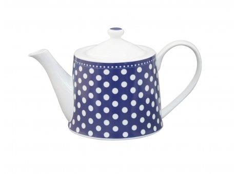 Krasilnikoff Teekanne dunkelblau mit Punkten in weiß Kanne mit Deckel aus Porzellan für 1 Liter