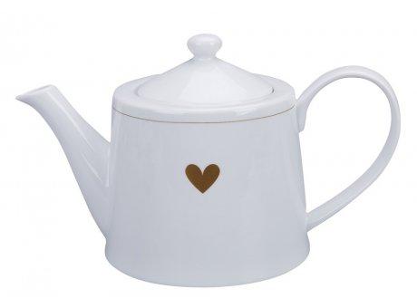 Krasilnikoff Teekanne HERZ Kanne Weiß mit Herz in Gold Krasilnikoff Teapot Nr TEA625