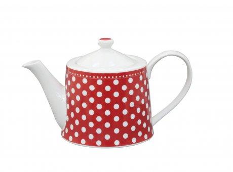 Krasilnikoff Teekanne rot mit Punkten in weiß Kanne mit Deckel aus Porzellan für 1 Liter