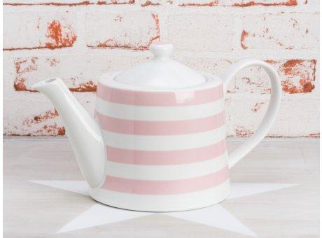 Krasilnikoff Teekanne Streifen rosa aus Porzellan weiß pink gestreift für 1 Liter