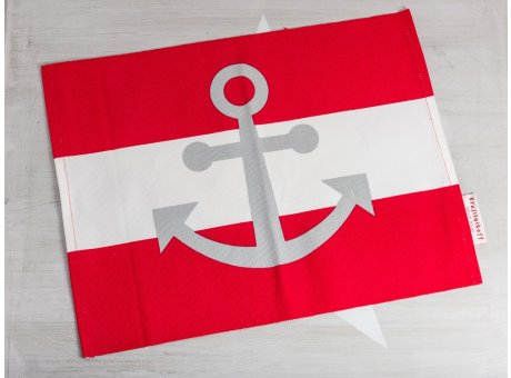Krasilnikoff Tischset Anker Rot Platzset Maritim aus Baumwolle rot weiß Streifen