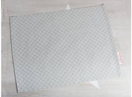 Krasilnikoff Tischset Daisy Hellgrau Platzset aus Baumwolle grau mit weißen Blumen