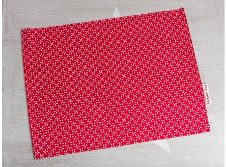 Krasilnikoff Tischset Daisy Rot Platzset aus Baumwolle mit weißen Blumen