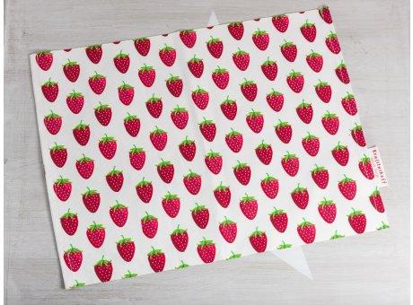 Krasilnikoff Tischset Erdbeeren weiß mit rotem Erdbeer Motiv