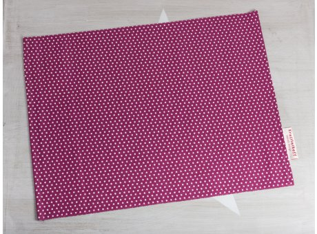 Krasilnikoff Tischset Punkte Pflaume Platzset aus Baumwolle aubergine weiß gepunktet