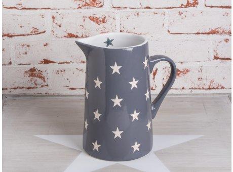 Krug Brightest Star dunkelgrau mit weissen Sternen aus Keramik von Krasilnikoff