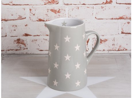Krug Brightest Star hellgrau mit weissen Sternen aus Keramik von Krasilnikoff