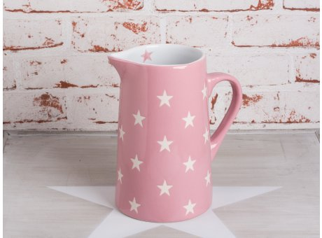 Krug Brightest Star rosa pink mit weissen Sternen aus Keramik von Krasilnikoff