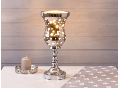 Lampe Sterne Hoehe 42 cm Tischlampe Deko in silber beleuchtet