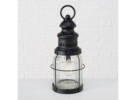 Lampe VIOLA Schwarz mit LED Licht 32 cm Tischleuchte aus Metall