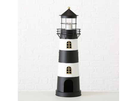 Laterne Leuchtturm Kampen schwarz weiß aus Metall Frontansicht